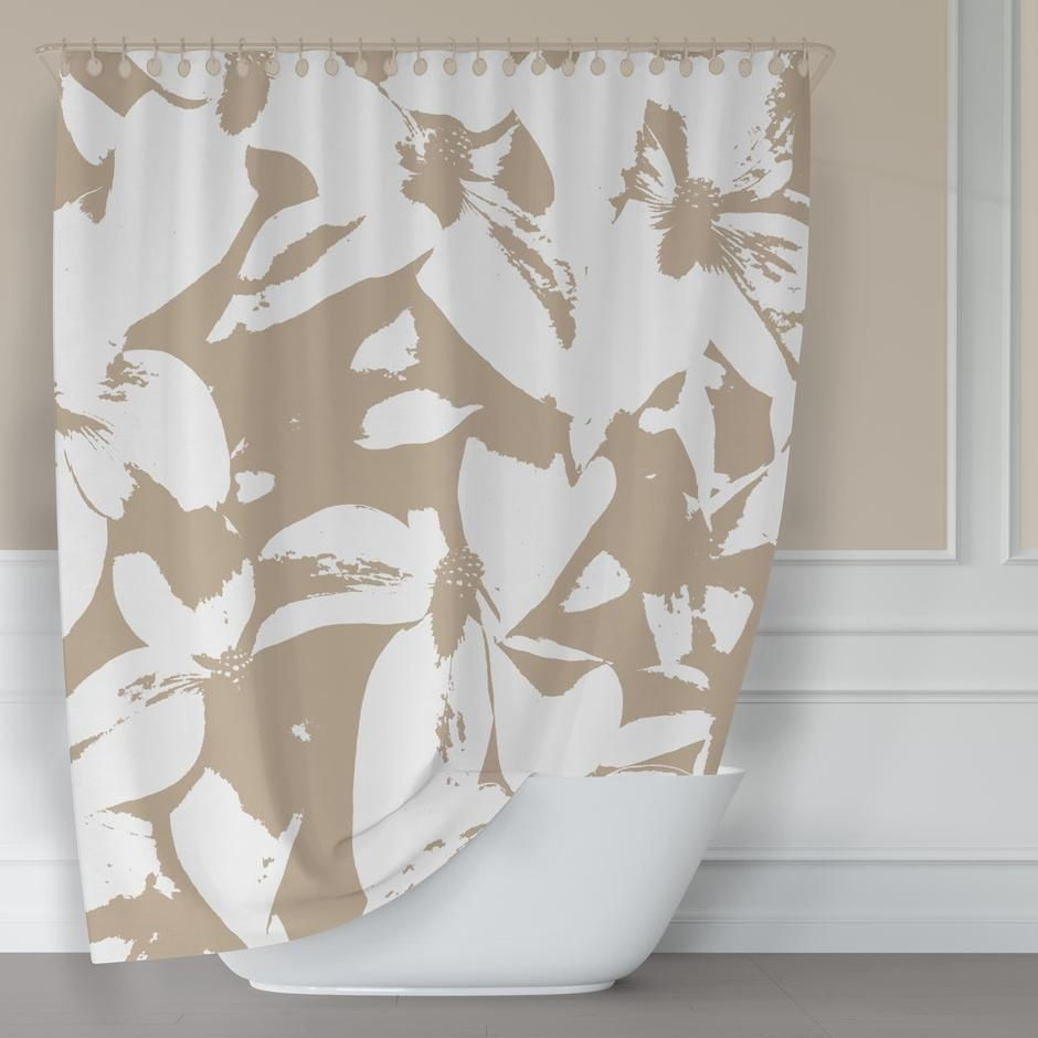 Kousa Dogwood In Monochromatic Beige Shower Curtain In 2020 With Images Patterned Shower Curtain Neutral Bathrooms Designs Fabric Shower Curtains