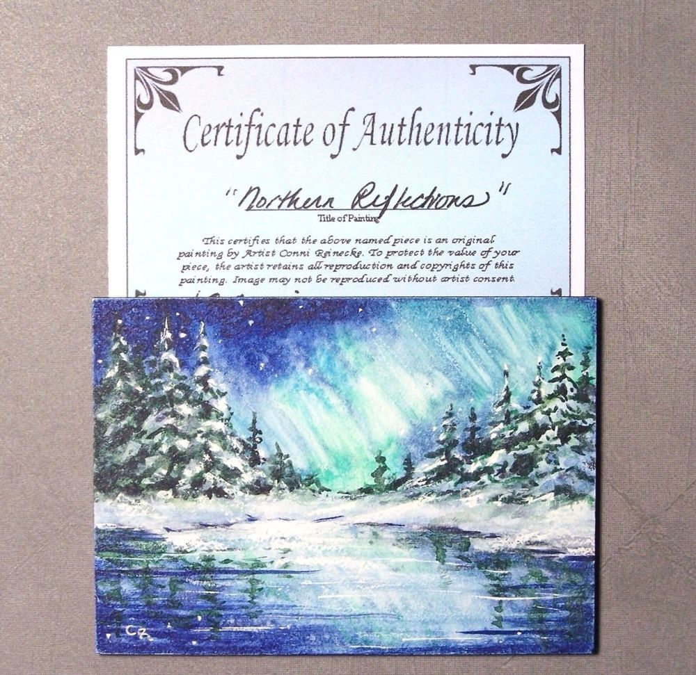 Original ACEO Northern Lights Winter Lake Snow Miniature Watercolor Reinecke COA #Miniature