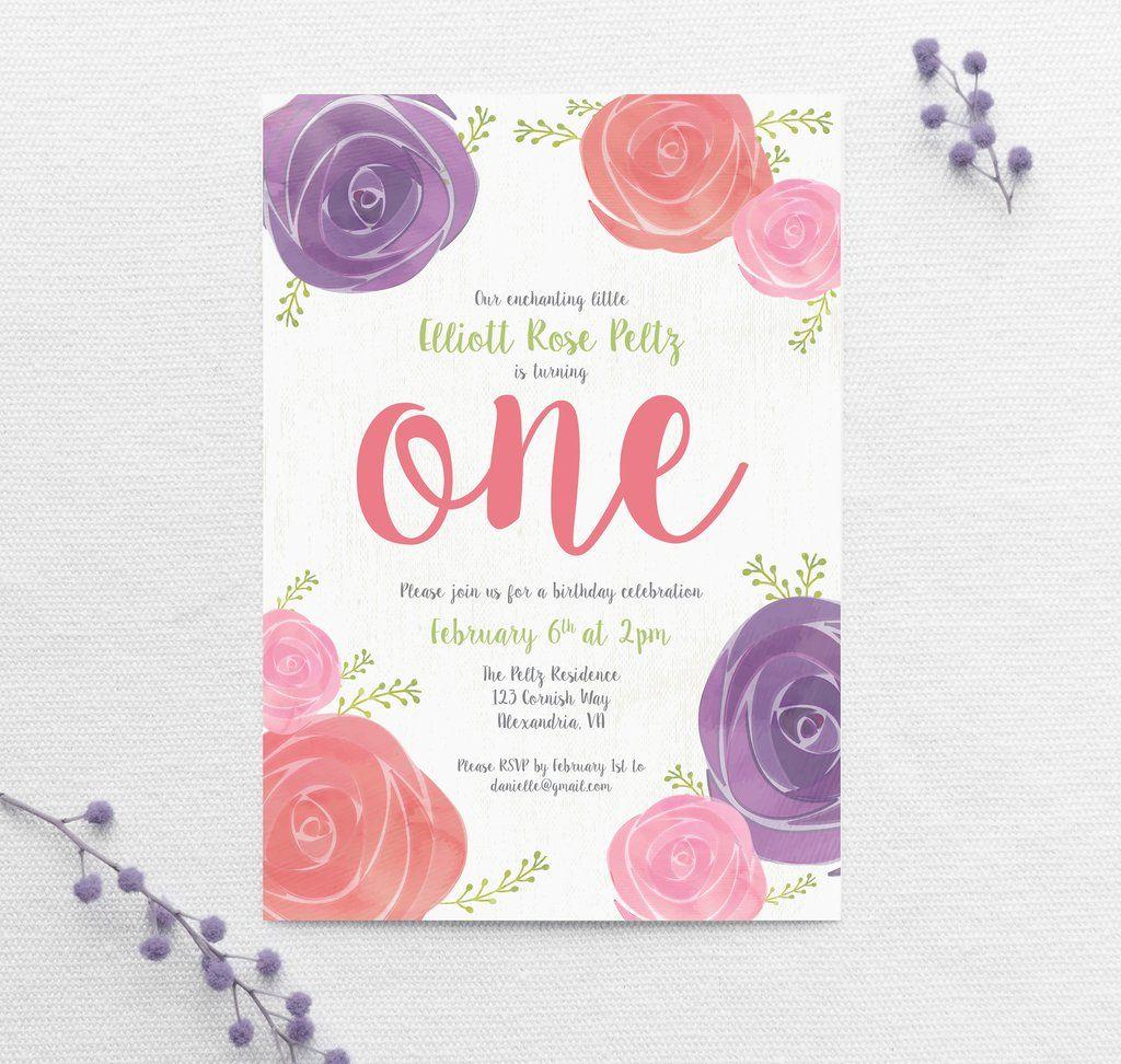 Enchanting Little Rose Themed Birthday Invitation In 2018