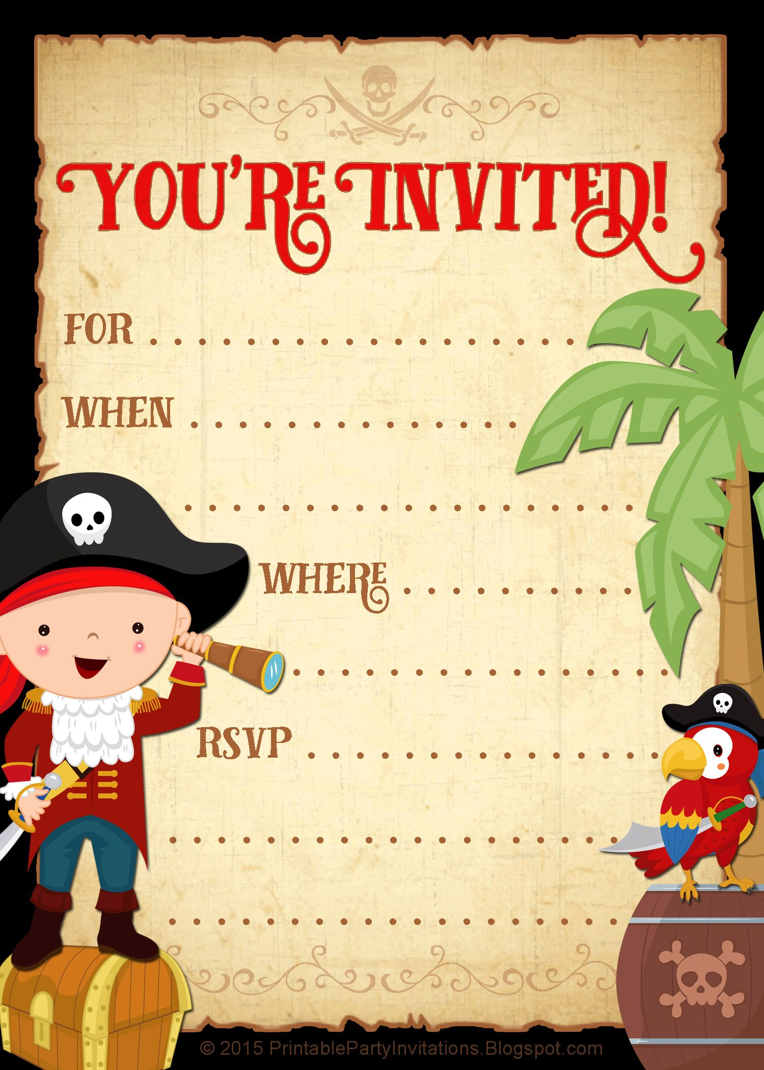 Free Printable Pirate Party Invitation Pirate Party Invitations Pirate Party Invitations Printable Pirate Invitations