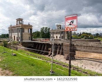 Swimming prohibition sign near the drained canal sign swimming warning canal safety love background Swimming Prohibition Sign Near Drained Canal Stock Photo Edit Now 1612...