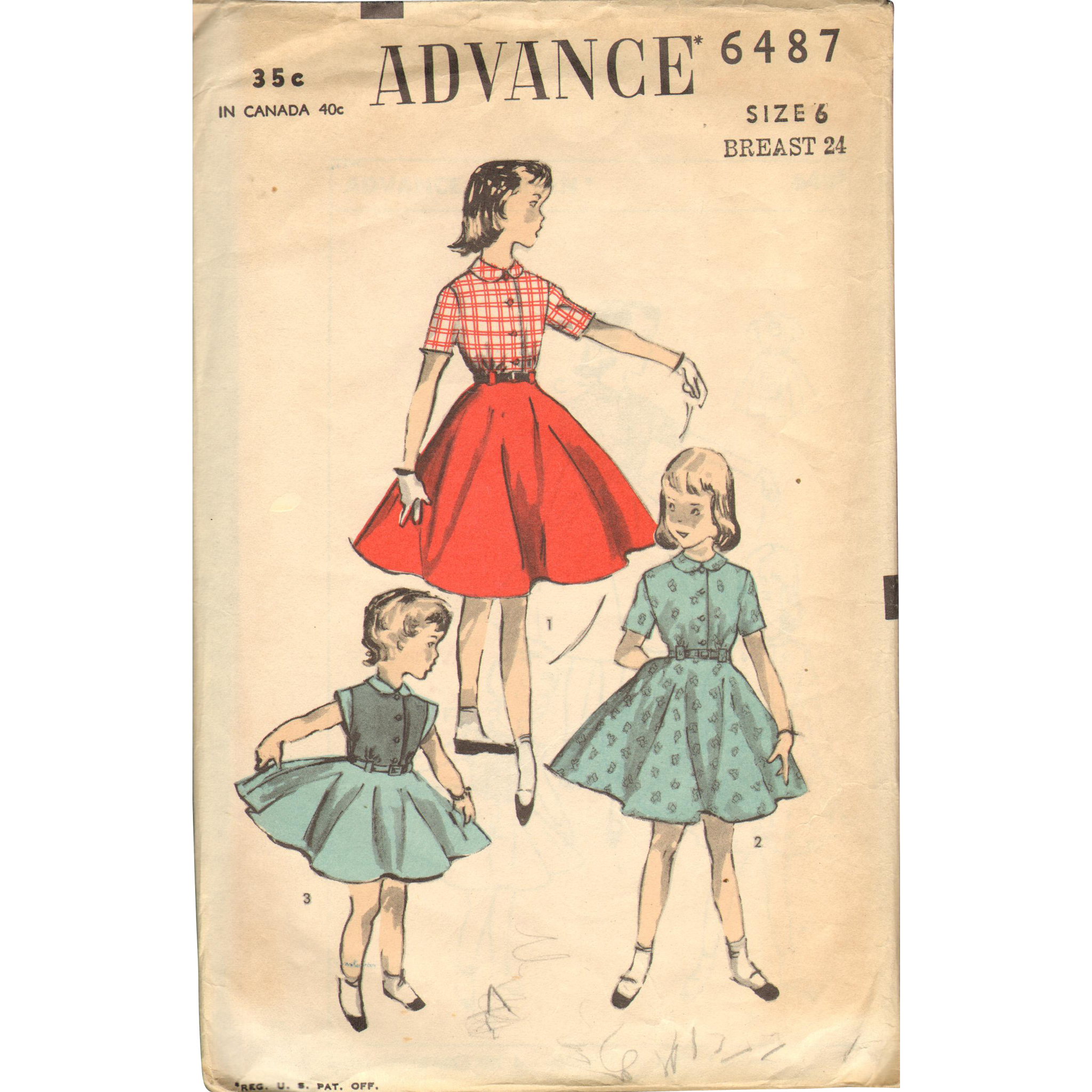 Advance 6487 Vintage Sewing Pattern Girls Dress Shirtwaist Top 1940s ...