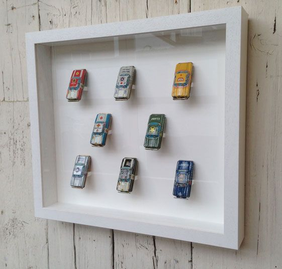 Tin cars in box frame | Everything | Pinterest | Box