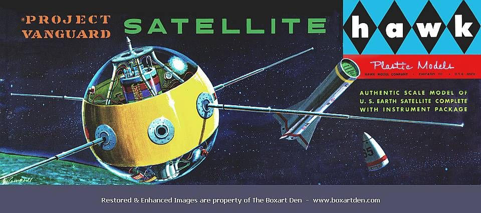 1958 Hawk Project Vanguard Satellite model kit | The Boxart Den