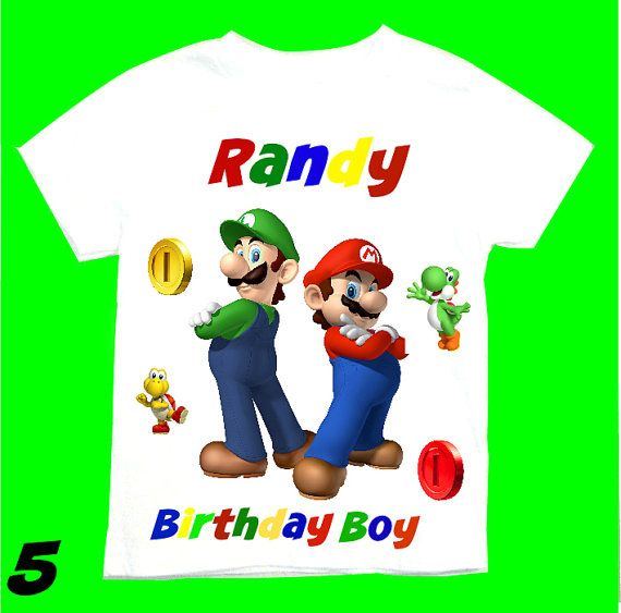 Super Mario Birthday T-Shirt Personalized - 1st 2nd 3rd 4th 6th 8th Personalization is included at no additional cost.