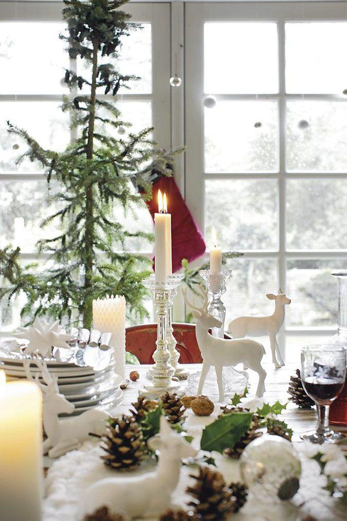 Christmas Decor} Christmas table with white figures in snow