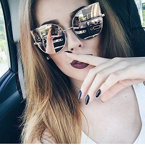 c05021cc39b Amazon.com  SojoS Cat eye mirrored flat lenses Ultra Thin Ultra Light metal  frame women Sunglasses With Pink Lens   14.99