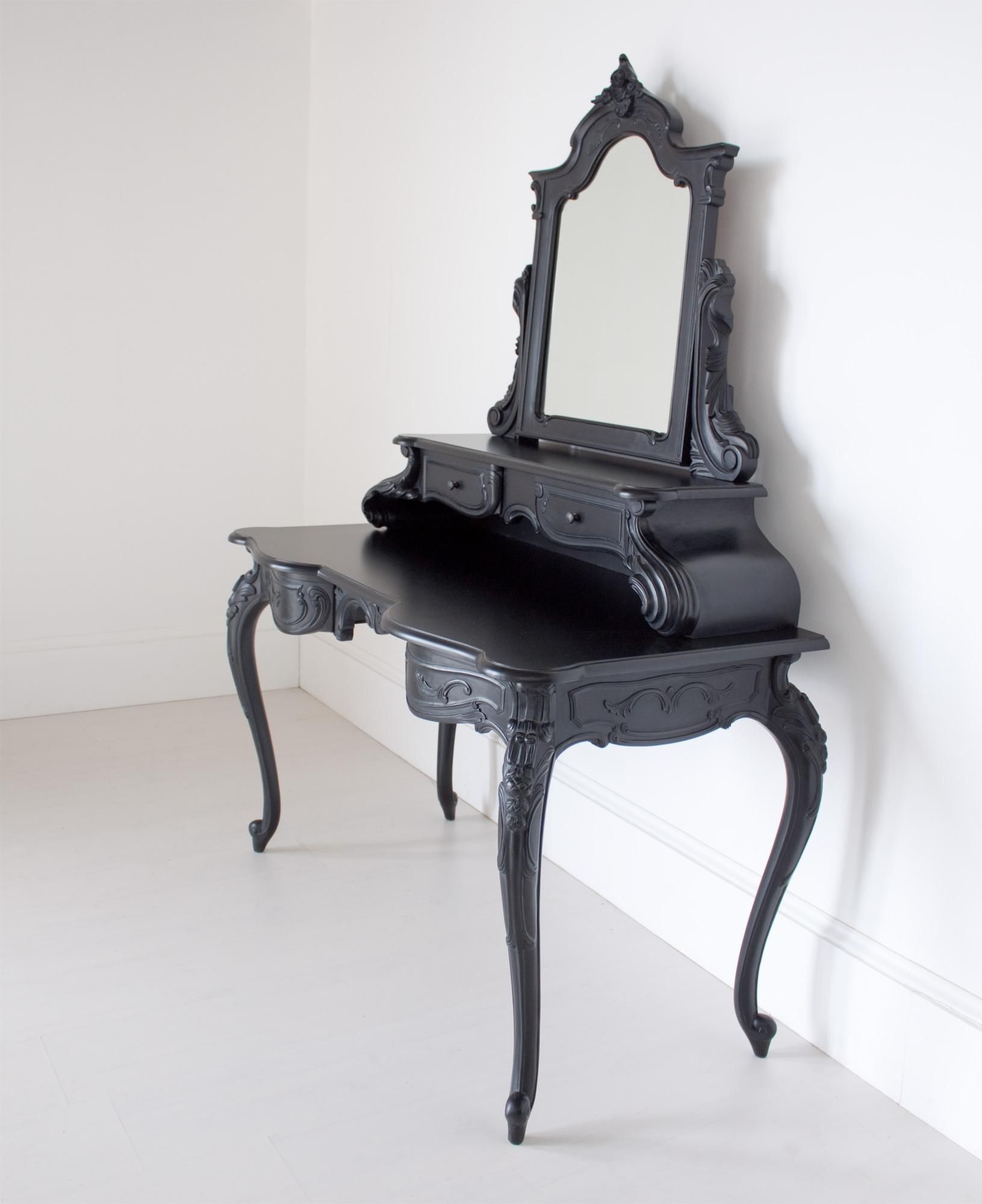 Spiegel Mobil Large French Black Dressing Table With Mirror Art