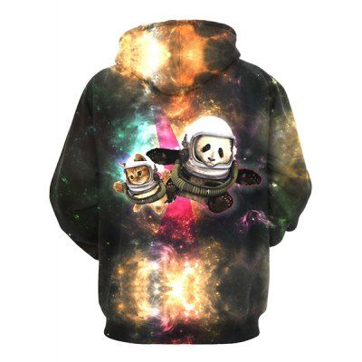 3D Colorful Funny Space Cat Print Front Pocket Drawstring Hooded Long Sleeves Men's Loose Fit Hoodie #CLICK! #clothing, #shoes, #jewelry, #women, #men