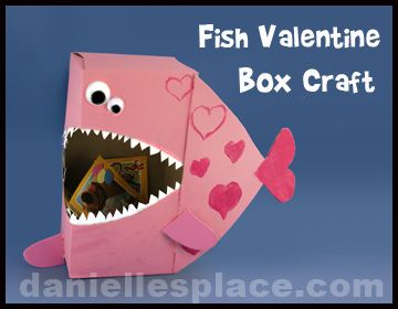 Fish Valentine Box Craft from wwwdaniellesplacecom  Valentines