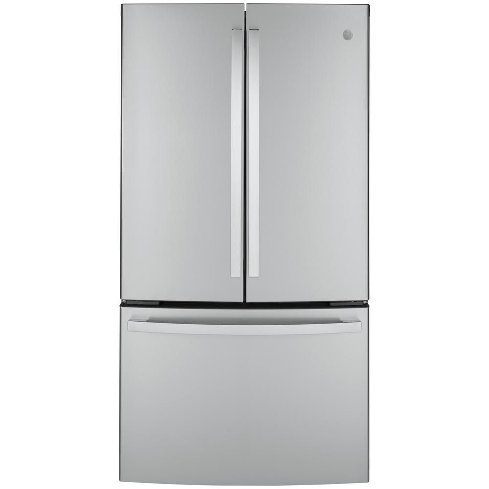 Ge 23 1 Cu Ft French Door Refrigerator In Fingerprint Resistant Stainless Steel Counter Depth And Energy Star Gwe23gynfs The Home Depot In 2020 French Door Refrigerator Counter Depth French Door Refrigerator