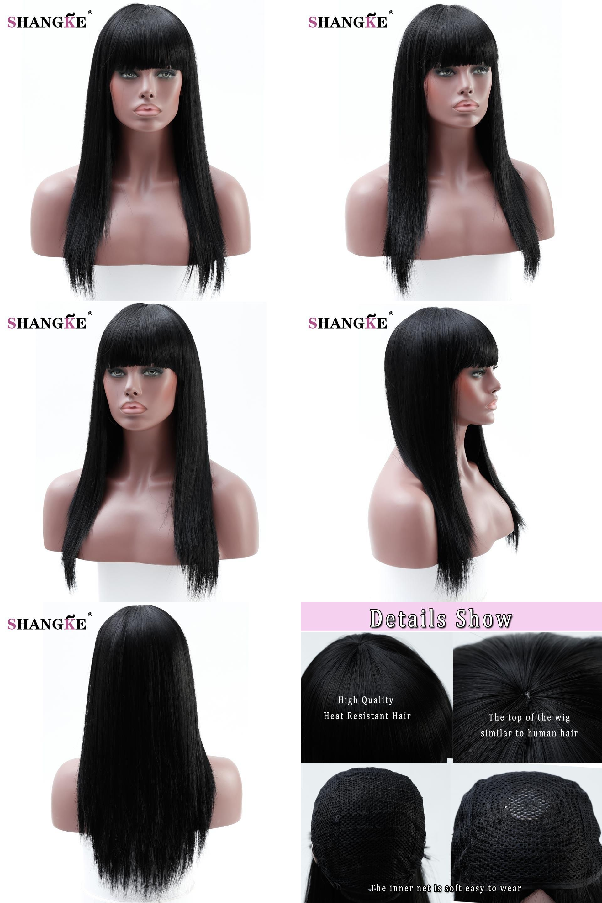 Visit To Buy Shangke 22 Long Straight Black Hair Wigs For Black Women Natural Heat Resistant Sy Black Hair Wigs Long Straight Black Hair Straight Black Hair