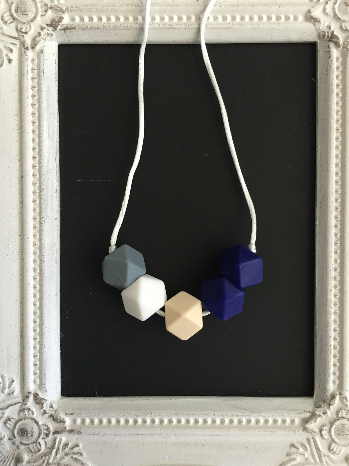 Blue, white and beige geometric silicone teethin necklace by LilchicboutiqueLIC on Etsy