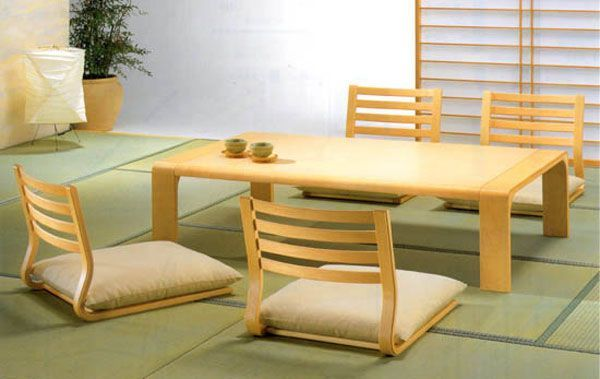 Captivating Stylish Rectangle Pine Japanese Dining Table With Four Wooden Rail Backseat  Floor Chairs Ideas In White Asian Dining Room Furnishing Decors