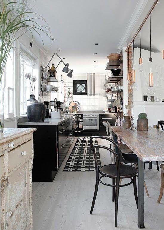 inspiration cuisine troite et table manger eco decor eco chic. Black Bedroom Furniture Sets. Home Design Ideas