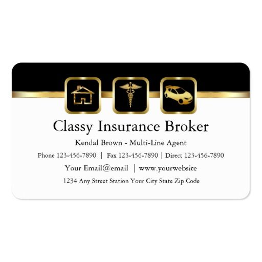Classy Insurance Broker Business Cards Insurance Broker Agency