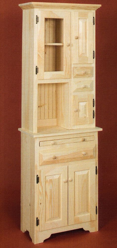 Amish Unfinished Solid Pine Small Hoosier Cabinet W