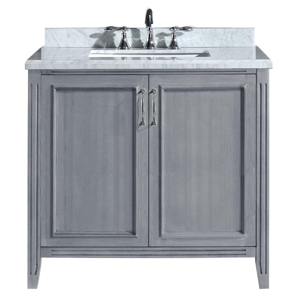 Madison 36 In Vanity In Gray With Marble Vanity Top In Carrara White Pemadison36 The Home Depot Marble Vanity Tops Granite Vanity Tops Vanity