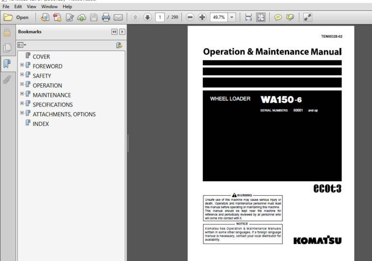 Komatsu Wa150 6 Wheel Loader Operation Maintenance Manual Sn 80001 Up Komatsu Wa150 6 Pdf Operation And Maintenance Komatsu Hydraulic Excavator