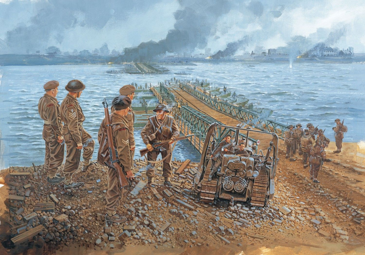 Royal Engineers build the first Bailey bridge over the River Rhine in British XXX Corps' sector, just upstream of Rees.