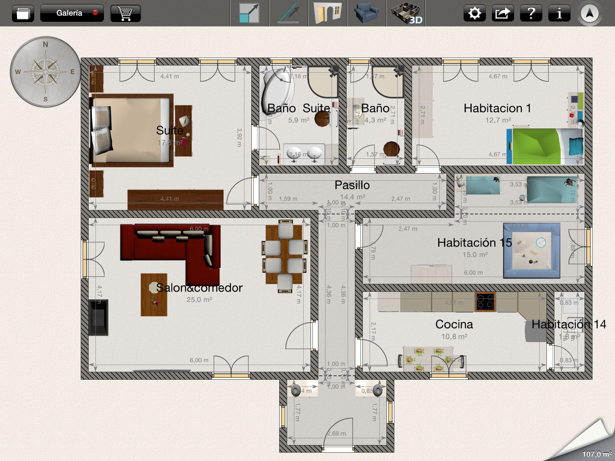 Casa de tres habitaciones