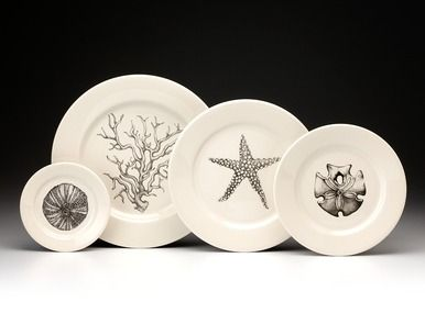 Bread Plate: Sea Urchin White