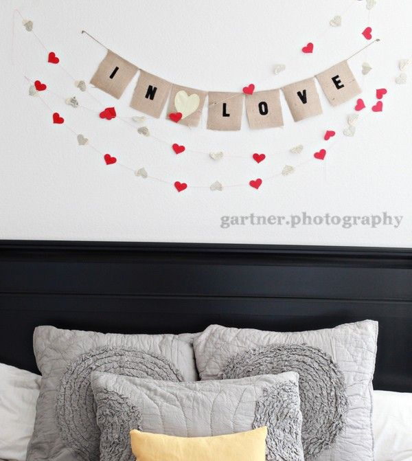 In Love burlap banner with heart color of your choice