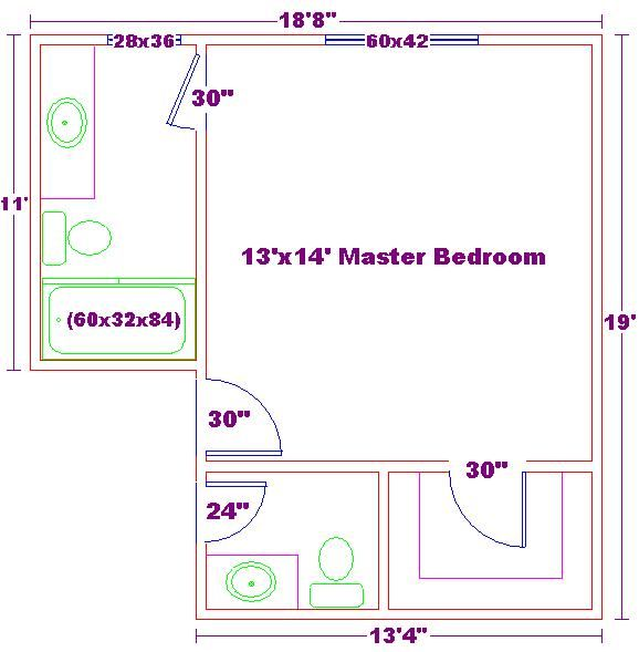 14x16 Master Bedroom Floor Plan with Bath and Walk In Closet For