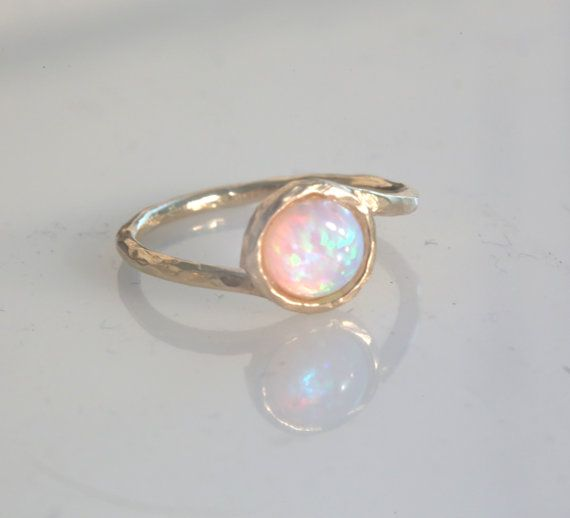 gold filled ring, gemstone ring, stacking ring, white opal ring, gold rings, opal, thin ring, hammered ring  - t 13