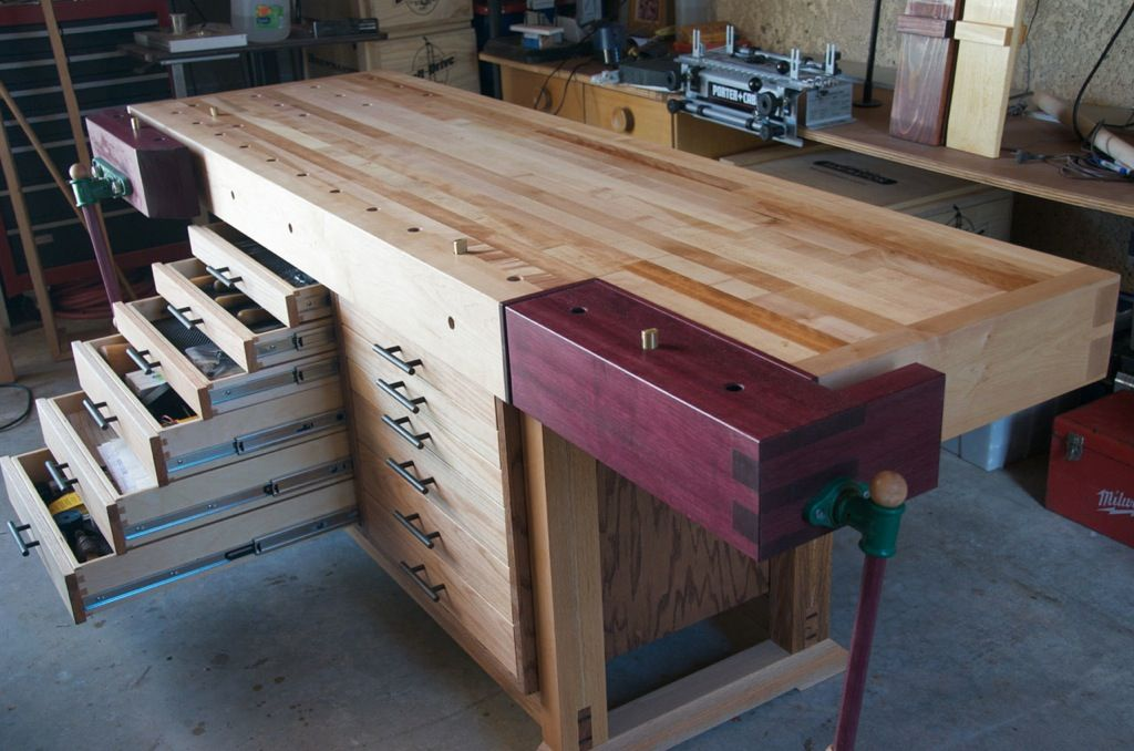 beautiful modified roubo workbench with tool storage woodworking