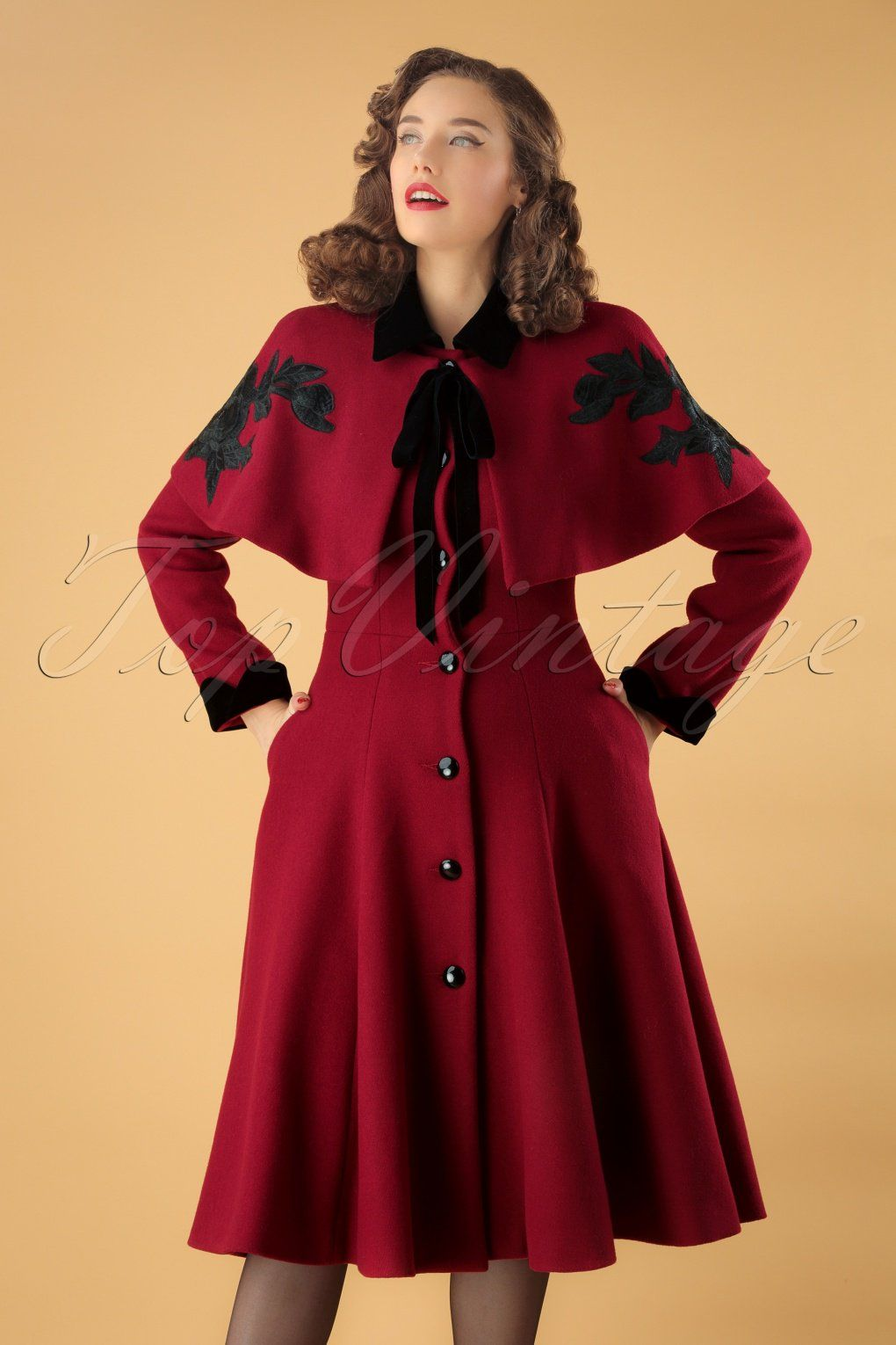 Collectif Clothing 40s Claudia Coat And Roses Cape in