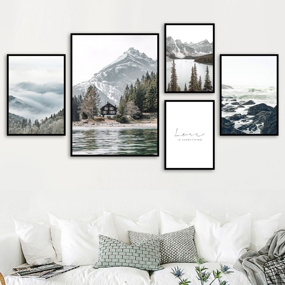 Fog Reef Snow Mountain Lake Pine Forest Wall Art Canvas Painting Nordic Posters And Prints Wall Pictures For Living Room Decor In 2020 Forest Wall Art Wall Art Canvas Painting Picture Wall