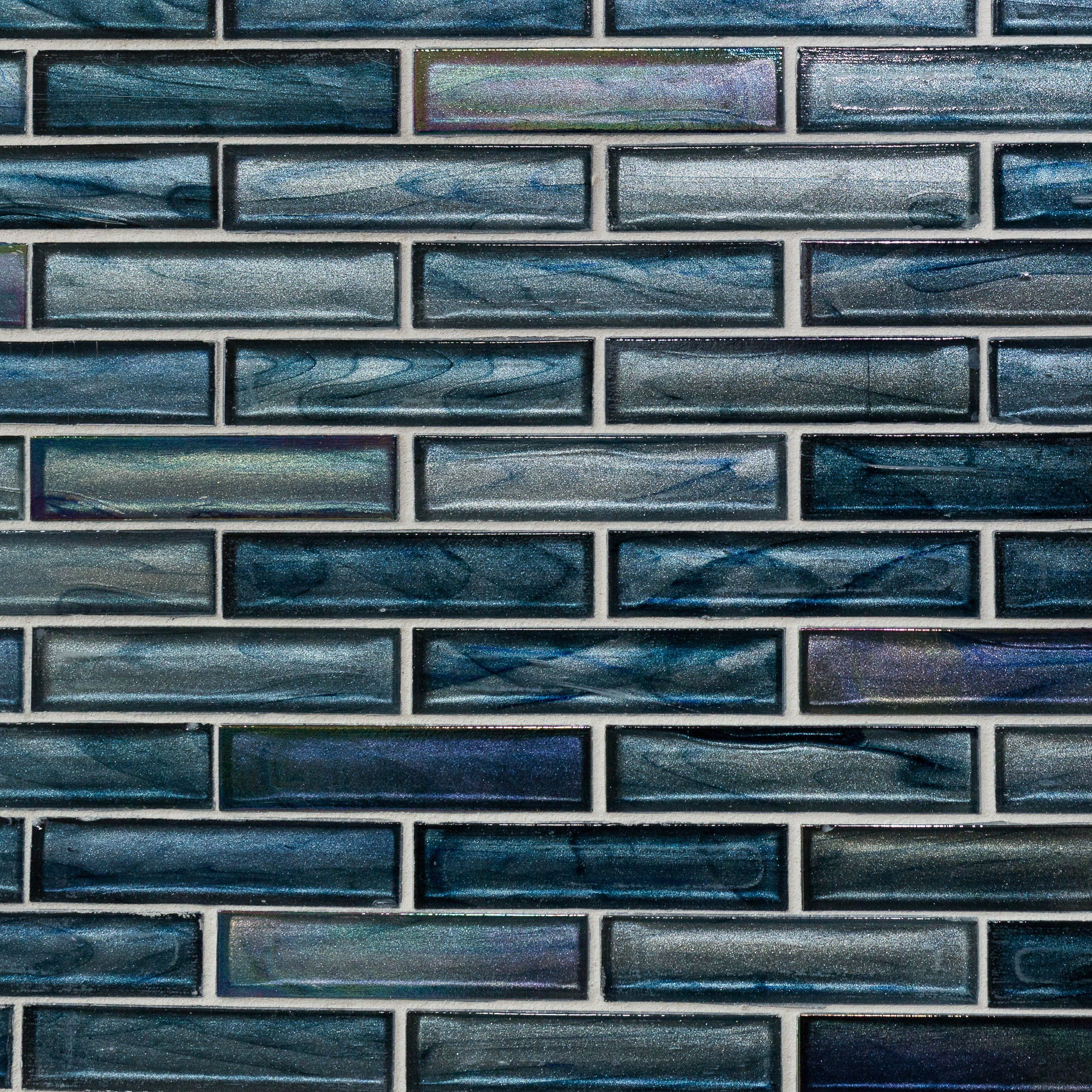 - Null Glass Mosaic Backsplash, Blue Glass Tile, Mosaic Glass