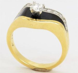 bernard k passman jewelry | Excellent 18K Yellow Gold Bernard K Passman Black Coral Diamond Ring ...