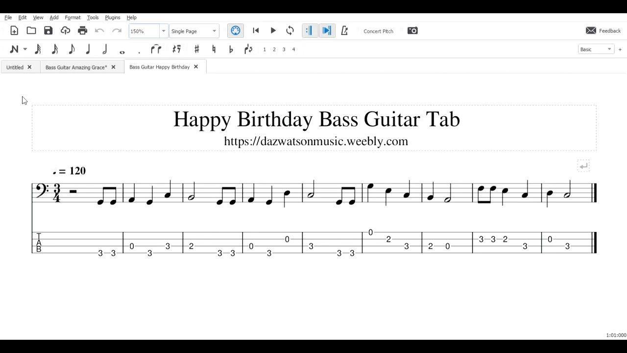 Happy birthday bass guitar tab in 2020 bass guitar tabs