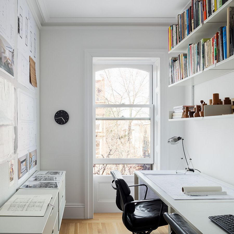 Small and narrow home office and study design with for Home study designs