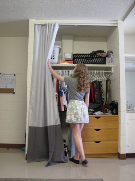 Closet Curtains For Your Dorm   Use A Tension Rod Or Velcro 3M Command  Strips To