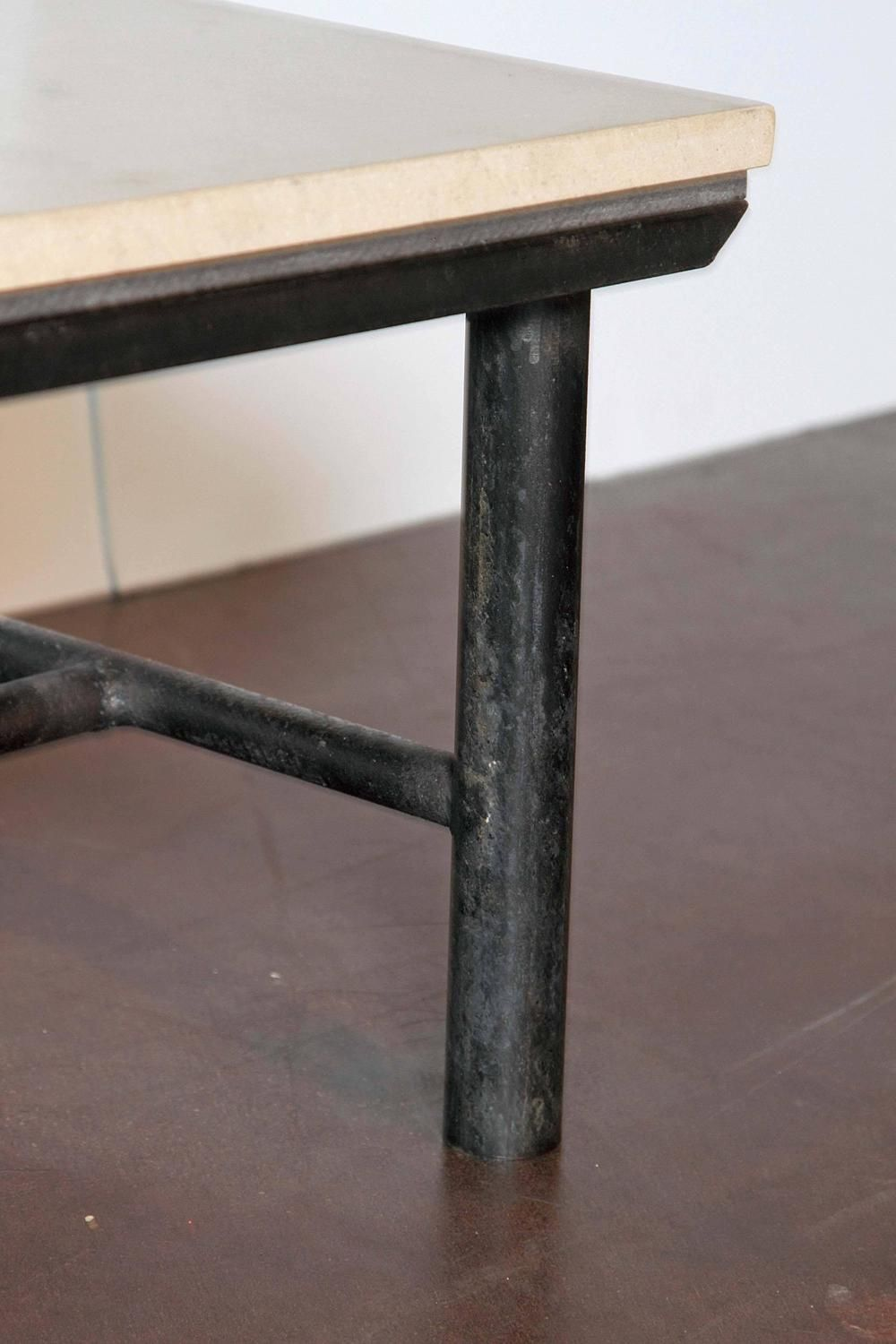 Industrial Vintage Table Base Paired With Limestone Top