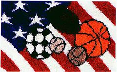 """All American 30"""" x 18"""" latch hook rug kit. Kit comes complete with stamped 3.3 mesh latch hook canvas, yarn is 2 x 3 ply pre-cut acrylic rug yarn (equivalent to 6 ply) and complete instructions."""