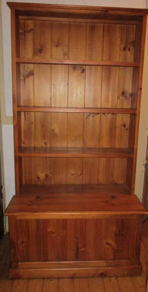 Solid Pine Timber BOOKSHELF Book Case With Storage Box Base PU Sydney VGC 18m