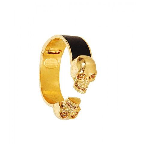 Alexander McQueen Black Leather & Gold Tone Skull Cuff