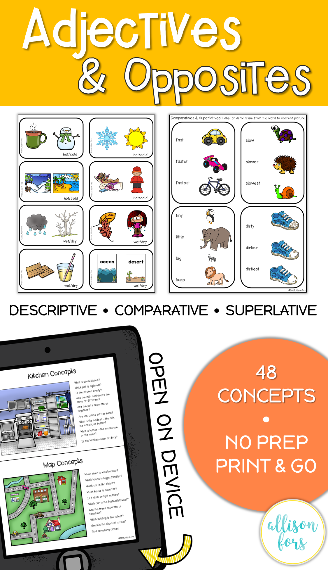 Adjectives And Opposites Worksheets No Prep Speech Therapy