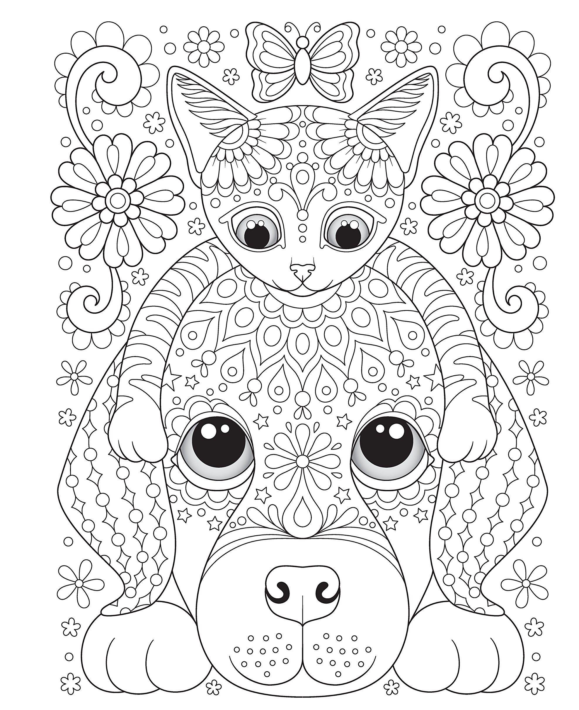 Раскраски сложные для взрослых антистресс «Дружба - кошка ...