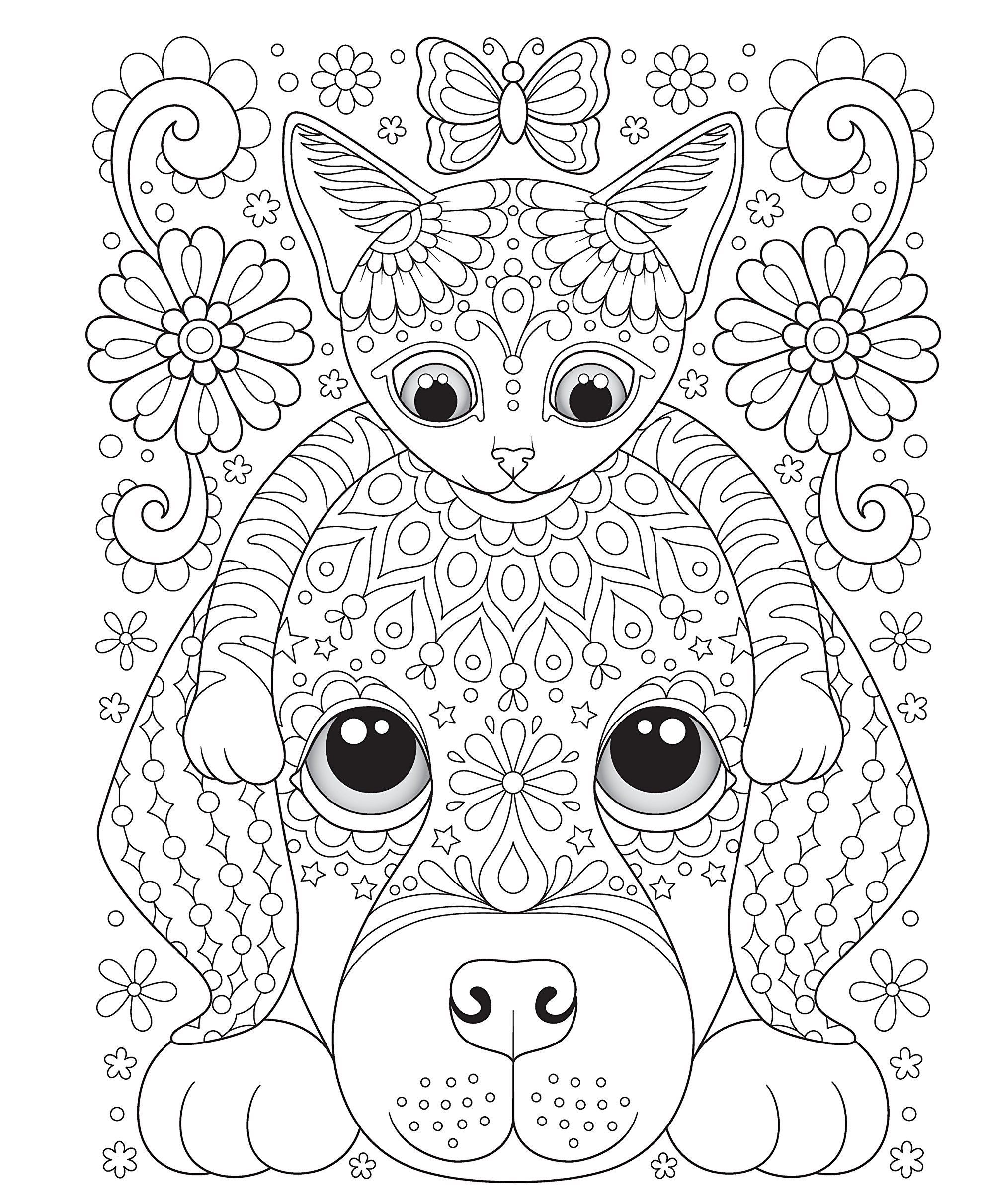Дружба - кошка и собака - Животные | Раскраски мандала ...