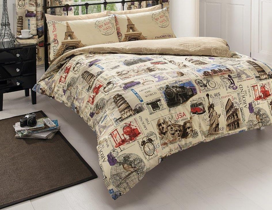 World Cities Travel Stamps Bedding Twin Full Queen King Duvet Cover Set Eiffel Tower Pisa Nyc Rome King Duvet Cover Sets Duvet Cover Sets King Duvet Cover