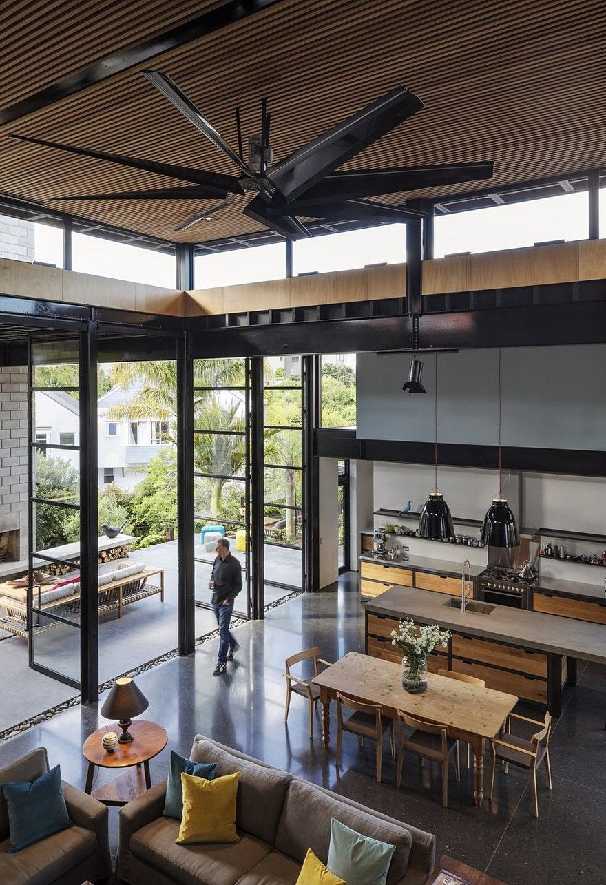 Double Height Living Spaces Add Drama To This Industrial Style