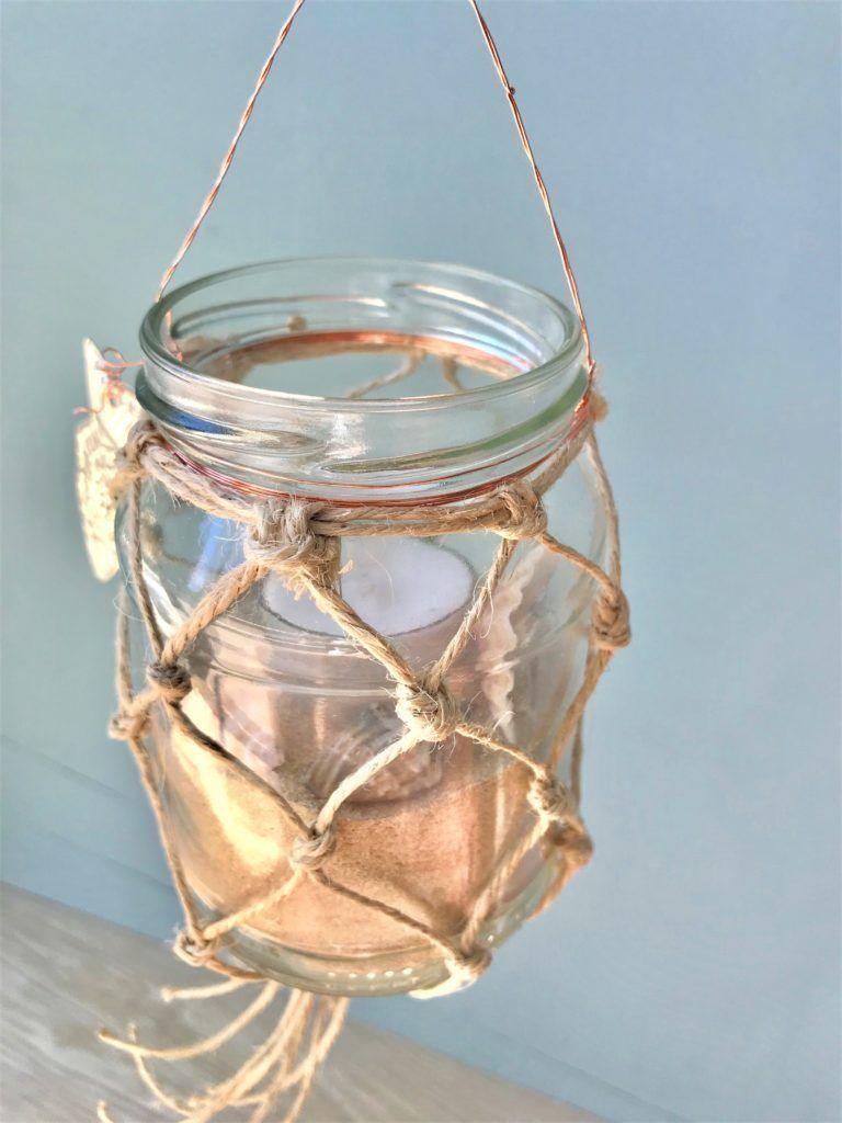 DIY: Makramee Sommerdeko/ Weckglas mit Fischernetz als Windlicht oder Vase – Chalet8