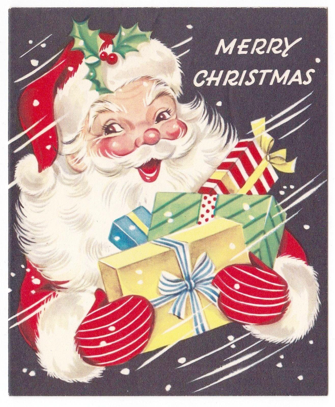 vintage santa retro santa merry christmas santa in snowstorm vintage christmas card retro