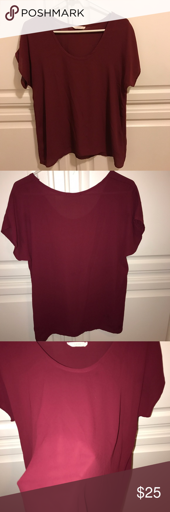 Nordstrom Shirt Lush shirt from Nordstrom! Cute burgundy/red. Hardly worn. Perfect condition. Almost like a chiffon material. Not stretchy but has a loose fit! :) Lush Tops Tees - Short Sleeve