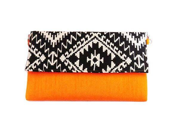 Neon Orange envelope Clutch bag/ black clutch bag by iThinkFashion ...